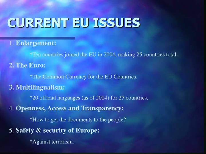 CURRENT EU ISSUES