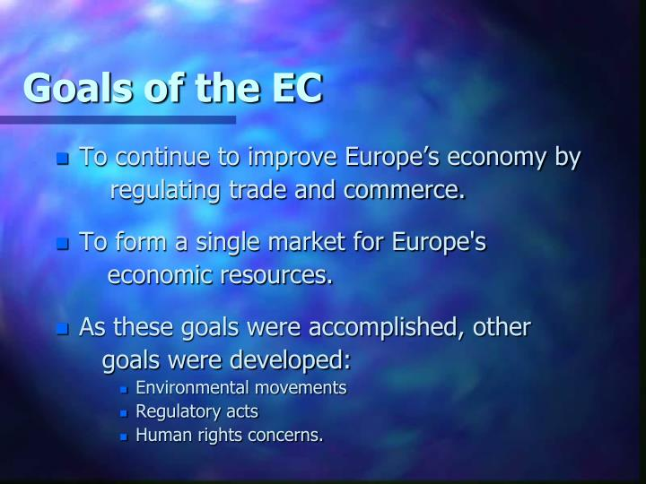 Goals of the EC