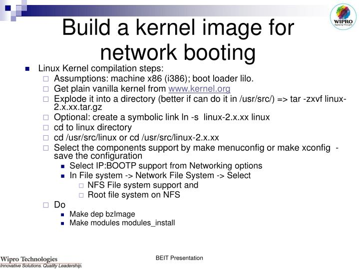 Build a kernel image for network booting
