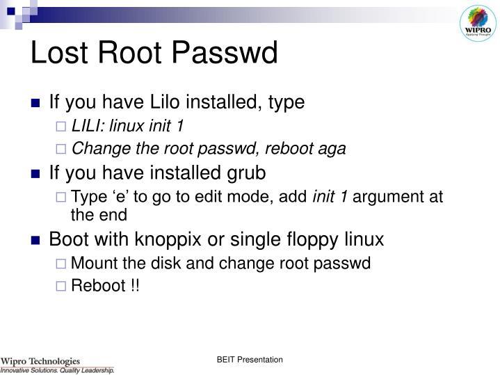 Lost Root Passwd