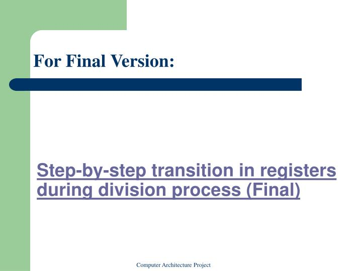 Step-by-step transition in registers during division process (Final)