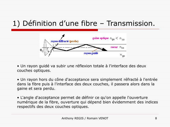 1) Définition d'une fibre – Transmission.