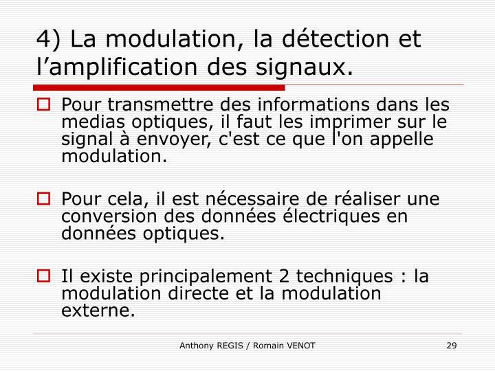 4) La modulation, la détection et l'amplification des signaux.