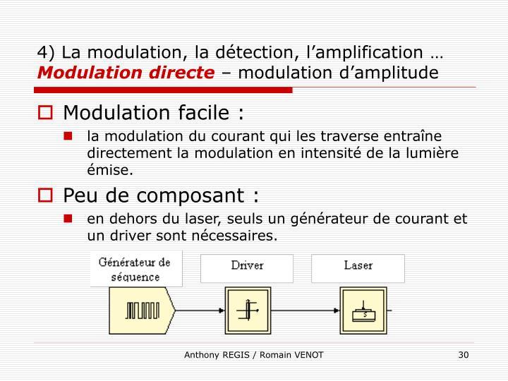 4) La modulation, la détection, l'amplification …