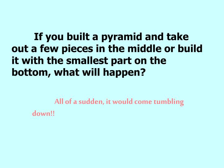 If you built a pyramid and take out a few pieces in the middle or build it with the smallest part on the bottom, what will happen?