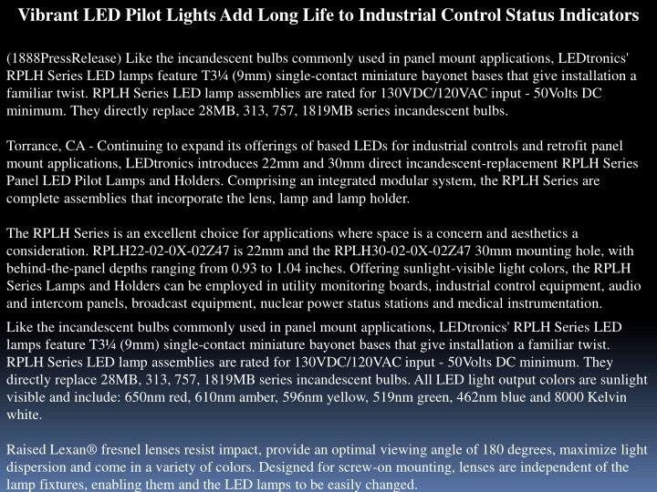 Vibrant LED Pilot Lights Add Long Life to Industrial Control Status Indicators