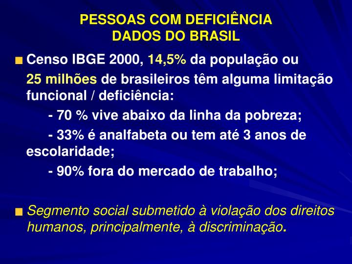 Pessoas com defici ncia dados do brasil