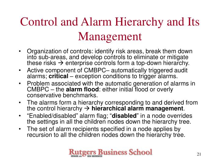 Control and Alarm Hierarchy and Its Management