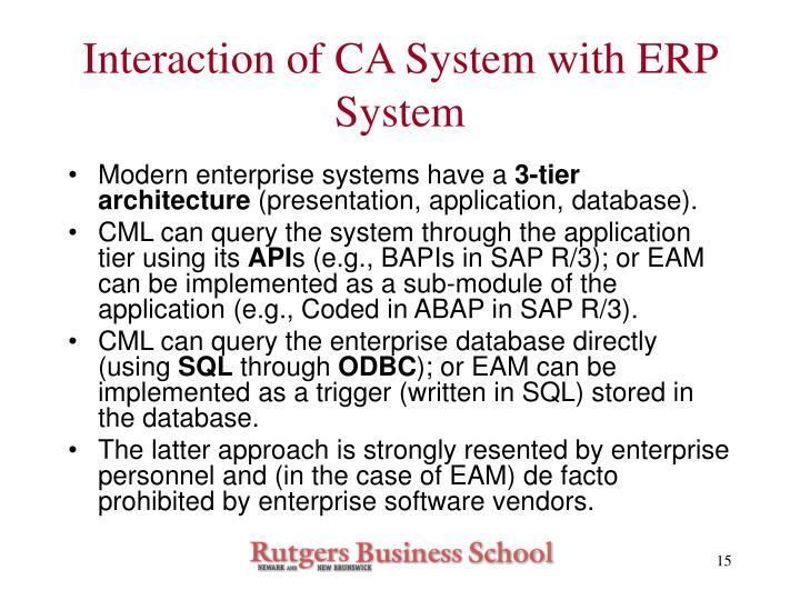 Interaction of CA System with ERP System