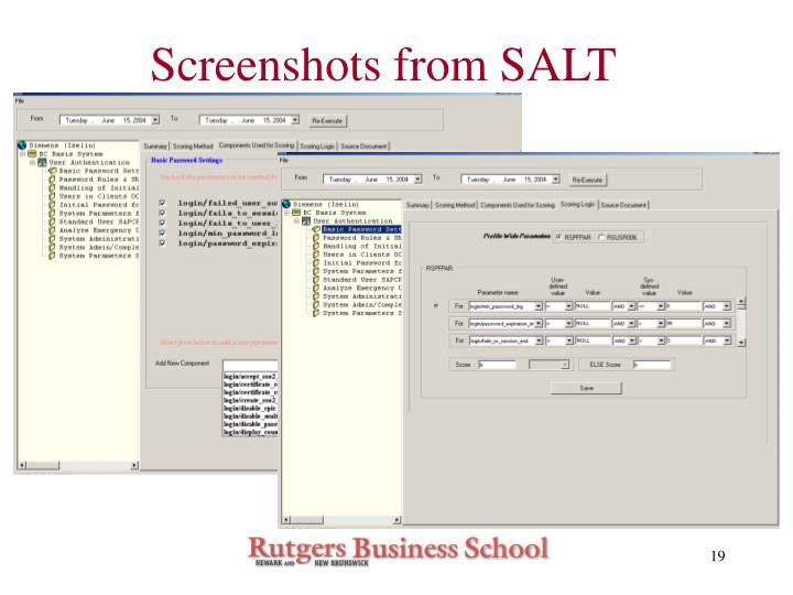 Screenshots from SALT