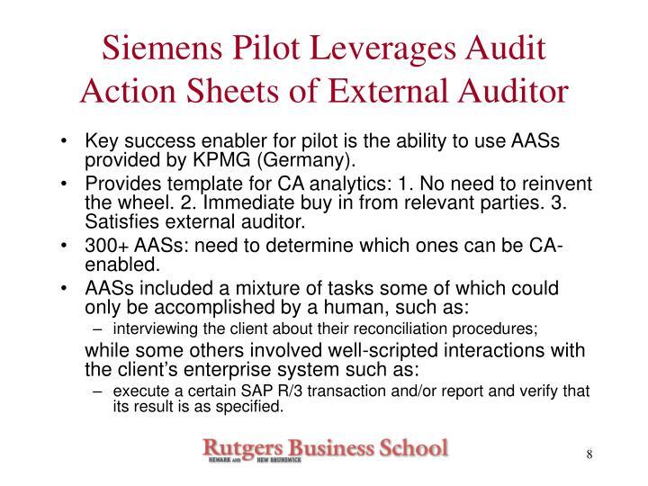 Siemens Pilot Leverages Audit Action Sheets of External Auditor