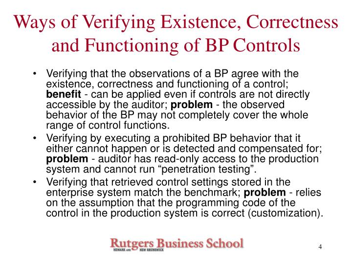 Ways of Verifying Existence, Correctness and Functioning of BP Controls