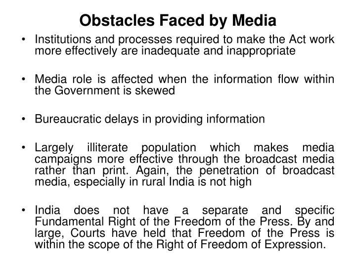 Obstacles Faced by Media