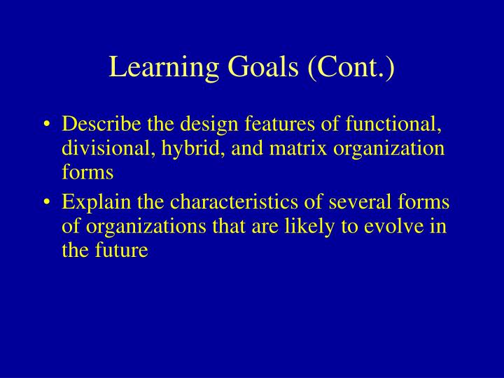Learning goals cont