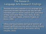 the research language arts research findings