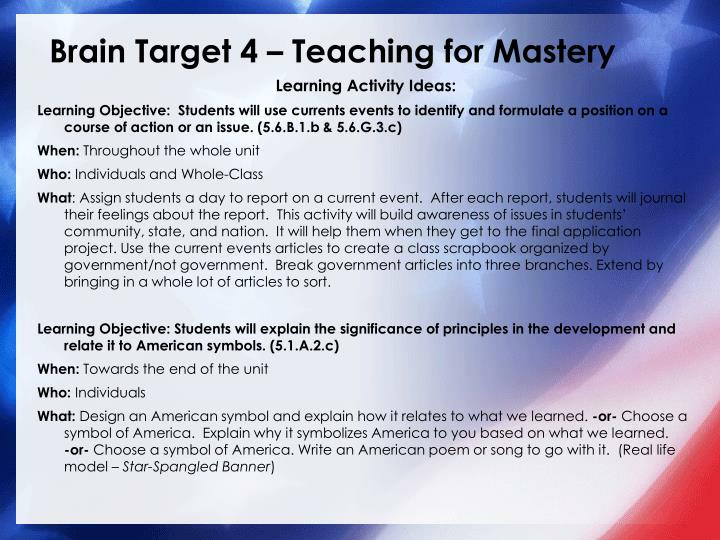 Brain Target 4 – Teaching for Mastery