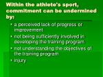 within the athlete s sport commitment can be undermined by