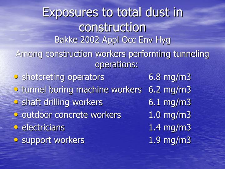 Exposures to total dust in construction