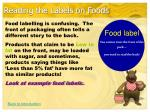 reading the labels on foods