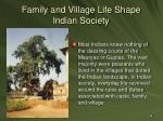 family and village life shape indian society