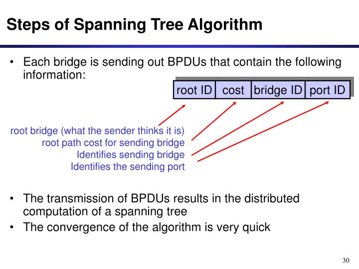 Steps of Spanning Tree Algorithm