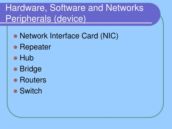 Hardware, Software and Networks Peripherals (device)
