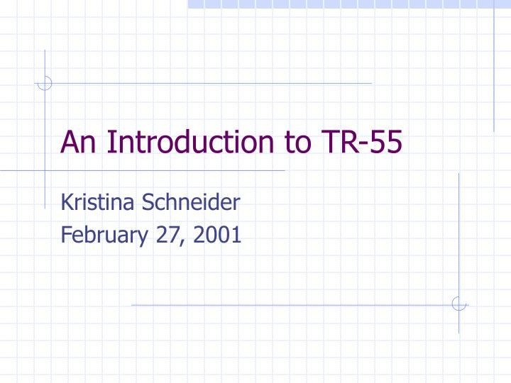 An introduction to tr 55