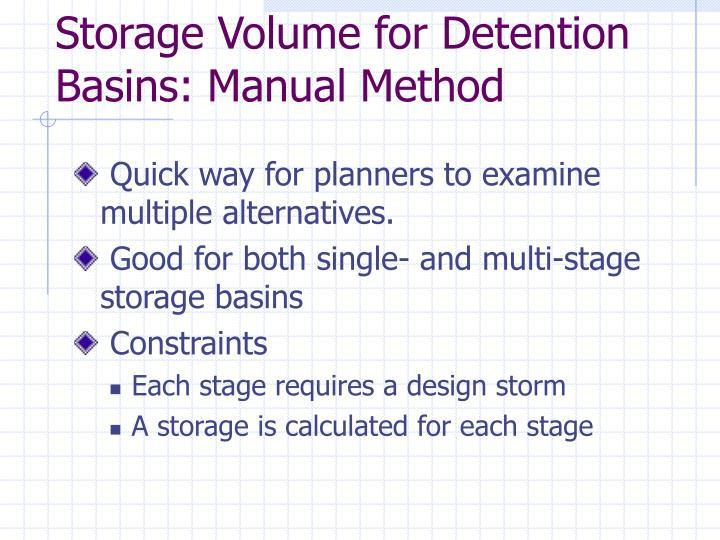 Storage Volume for Detention
