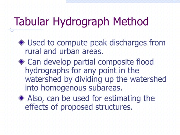 Tabular Hydrograph Method