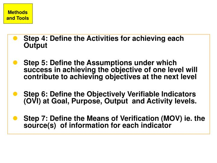 Step 4: Define the Activities for achieving each Output