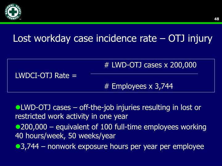 Lost workday case incidence rate – OTJ injury