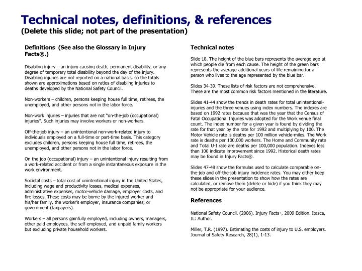Technical notes, definitions, & references