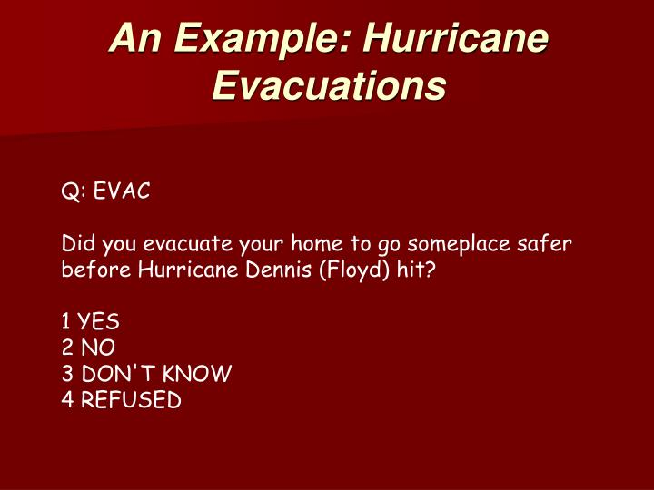 An Example: Hurricane Evacuations