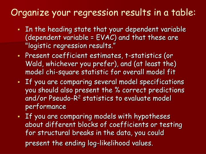 Organize your regression results in a table: