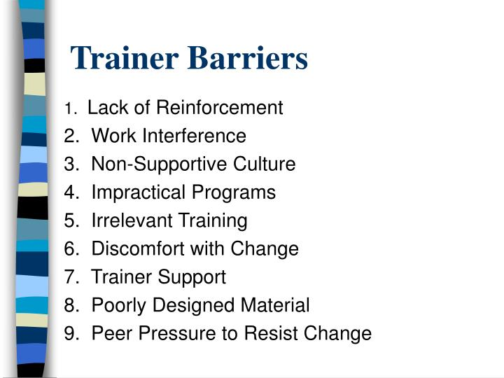 Trainer Barriers