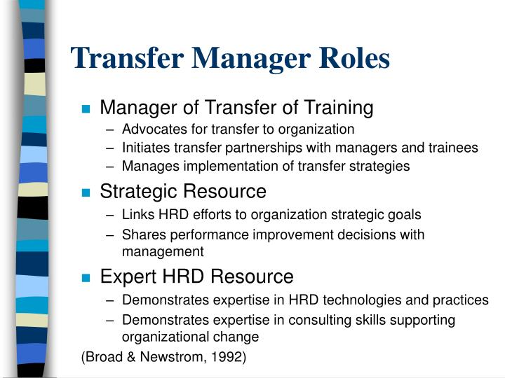 Transfer Manager Roles