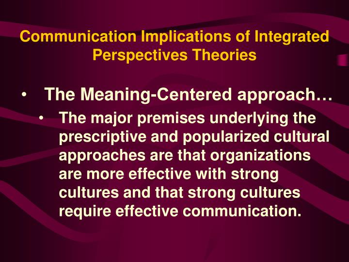 Communication Implications of Integrated Perspectives Theories