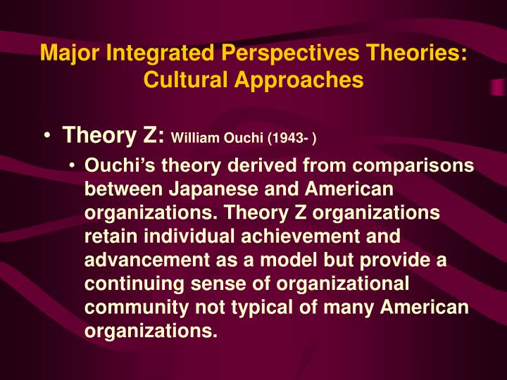 Major Integrated Perspectives Theories: Cultural Approaches