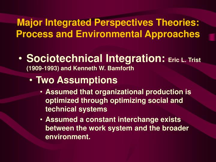 Major Integrated Perspectives Theories: Process and Environmental Approaches
