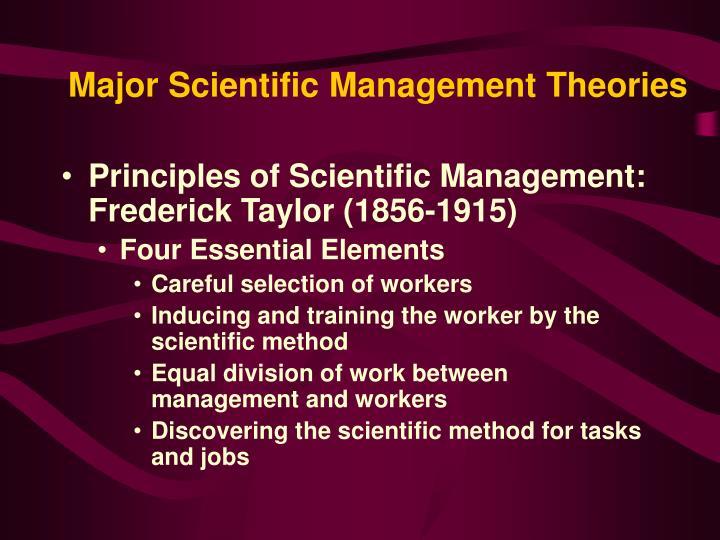 Major scientific management theories