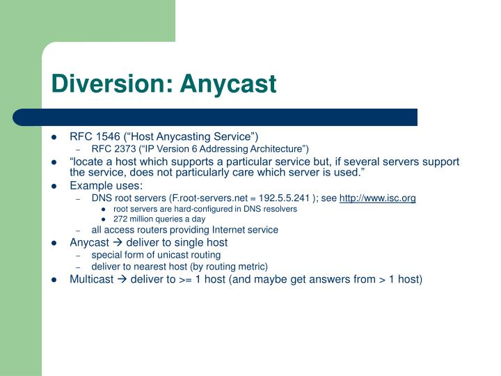Diversion: Anycast