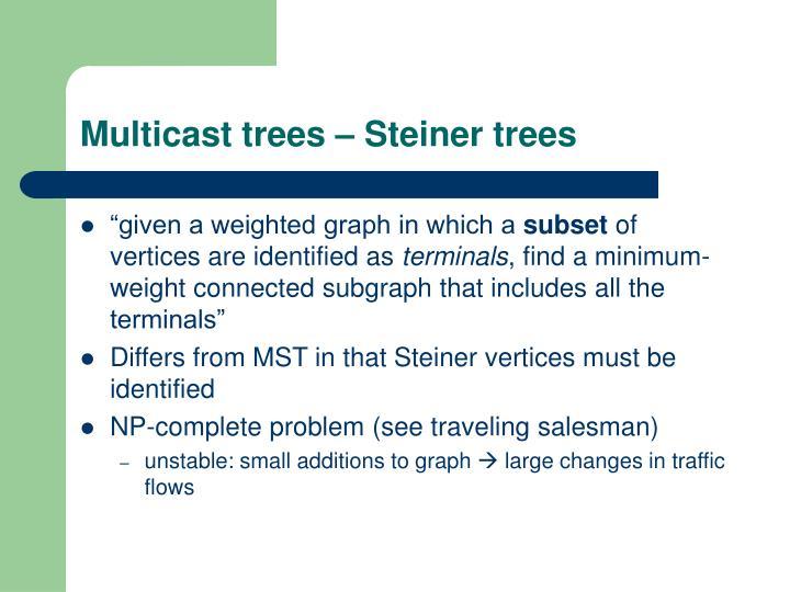 Multicast trees – Steiner trees