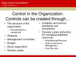 control in the organization controls can be created through