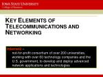 k ey e lements of t elecommunications and n etworking3