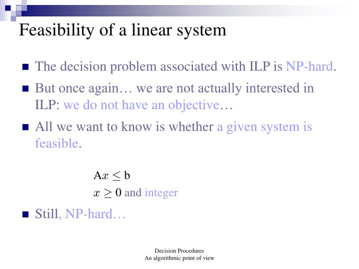 Feasibility of a linear system