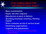 it is guidelines for informationalising