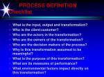 process definition checklist