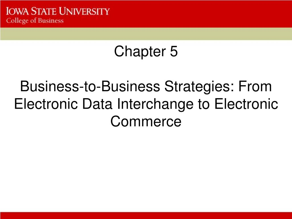 PPT - Chapter 5 Business-to-Business Strategies: From
