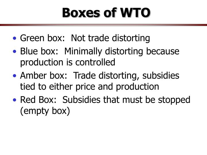 Boxes of WTO