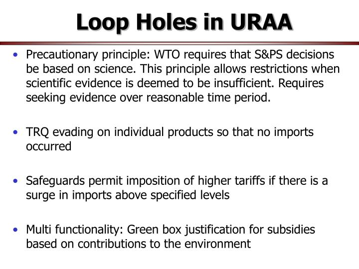 Loop Holes in URAA